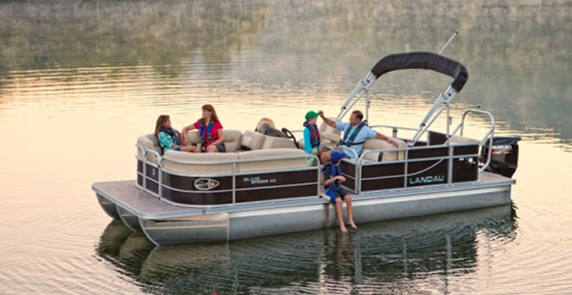 Family on Door County Pontoon Rental