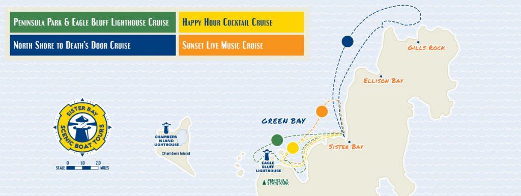 Sister Bay Boat Tour Map
