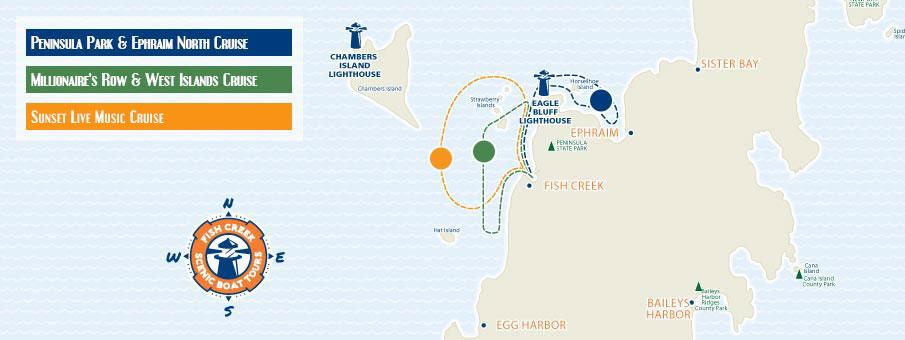Fish Creek Scenic Boat Tour Map